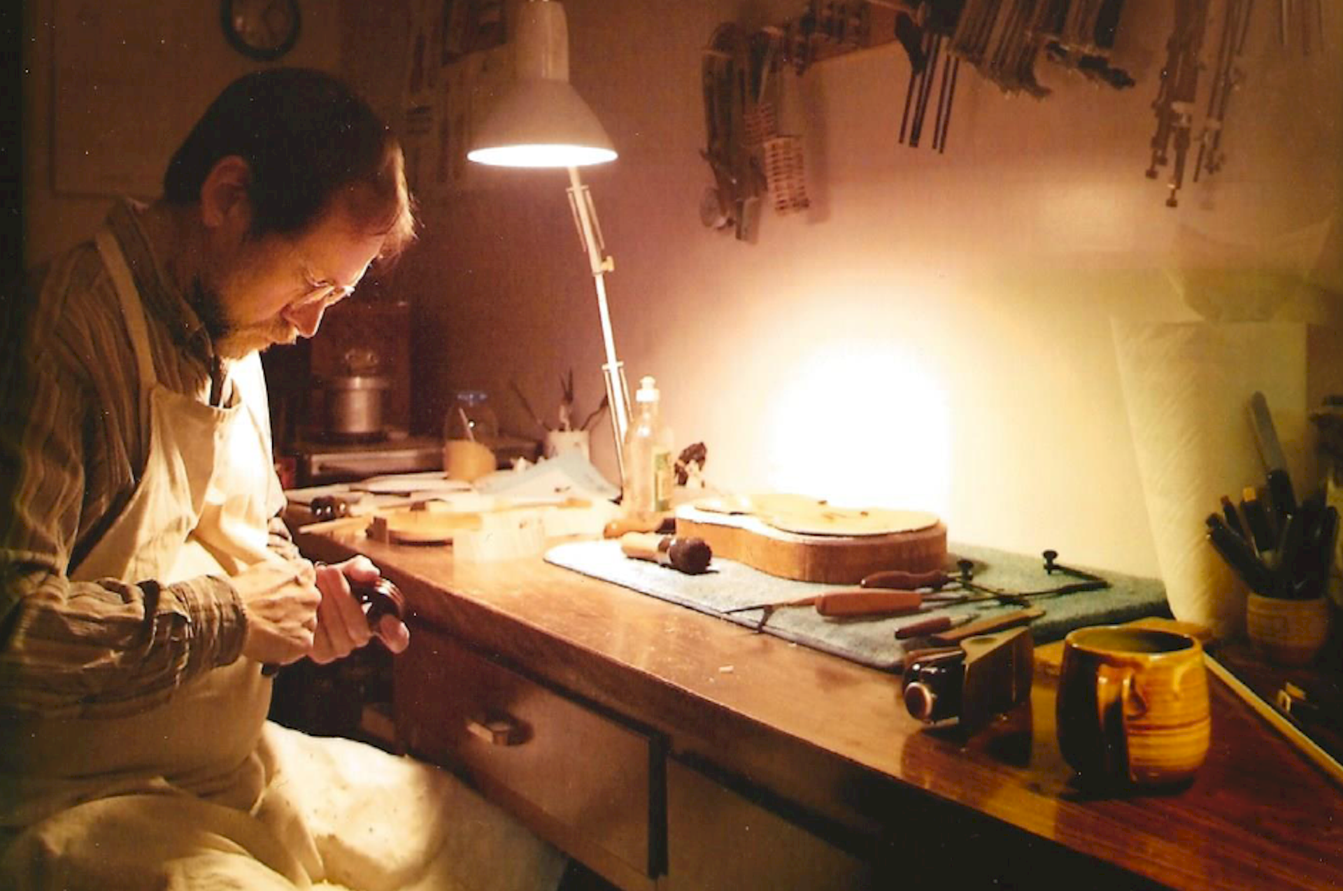 Thomas Verdot at his workbench.